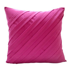 """Suede Living Room Pillow Covers Fuchsia Pink 20""""x20"""", Contemporary Fuchsia"""