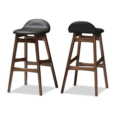 """Baxton Studio Bloom 30"""" Faux Leather Bar Stool in Black (Set of 2)"""