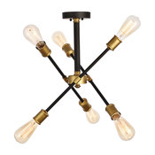 """Axel Collection Flushmount, 17.1""""x16.6"""", 6-Light, Black and Brass Finish"""