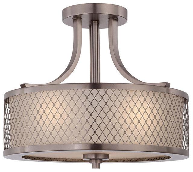 Fusion 3 light semi flush mount fixture transitional flush mount fusion 3 light semi flush mount fixture hazel bronze and russet glass aloadofball Image collections