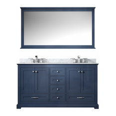 60 Inch Navy Blue Double Sink Bathroom Vanity No Top No Sinks Transitional