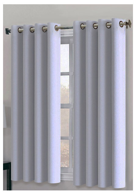 Ponydance 2 Panel Blackout Curtains Set Of White Gray 63