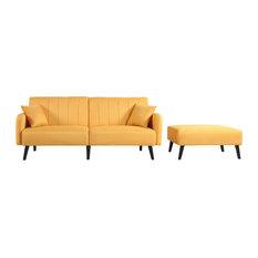 Mid-Century Modern Linen Fabric 2-Piece Futon Sofa Bed Set, Yellow