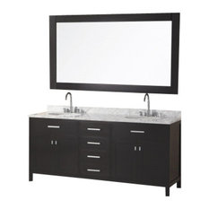 "Design Element DEC076B London 72"" Double Sink Vanity Set, Espresso"
