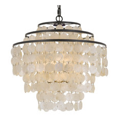 "Elight Design Capiz Shell 18"" Wide Bronze Chandelier"