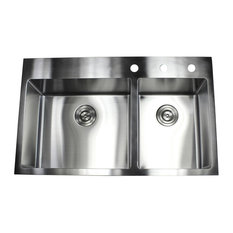 "33"" Top-Mount/Drop-In Stainless Steel Double Bowl Kitchen Sink"