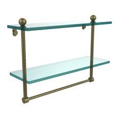 "16""X5"" Double Glass Shelf, Antique Brass"