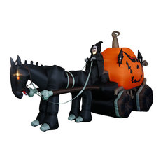 Carriage With Ghost Skeleton and Pumpkin, 12' Long