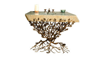 """Embracious Aspen Forest Iron Vanity With 33""""-40"""" Integrated Boulder Basin"""