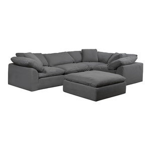 5-Pc Slipcovered Modular L Shaped Sectional Sofa with Ottoman Performance Fabric