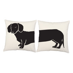 Dachshund 2-Piece Indoor/Outdoor Pillow Set, White