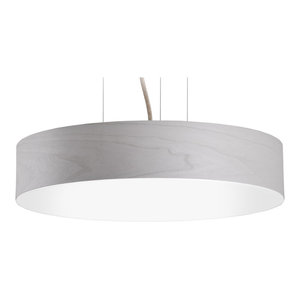 Veneli Slim Pendant Light, Light Grey Ash Veneer, Medium