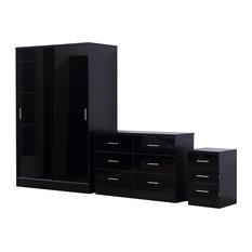 Reflect Glossy Black Sliding Wardrobe 3-Piece Bedroom Set, Black Oak
