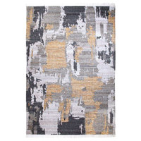 Handwoven Gold and Gray Tasseled Wool Area Rug, 8'x10'