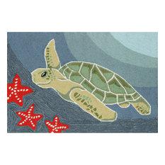 Liora Manne Frontporch Sea Turtle Indoor/Outdoor Rug Ocean 2'6x4'