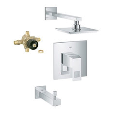 Eurocube Shower Tub Combination With Rough-in, Chrome