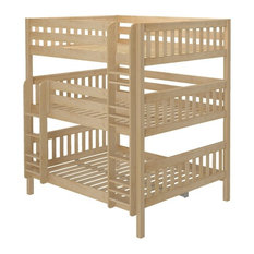 Leta Natural Queen Triple Bunk Bed, With Set of 2 Xl Storage Drawers