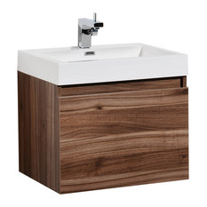 "Aquamoon Venice 31 1/4"" Infnity Sink Modern Bathroom Vanity Set, Walnut"