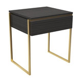 Federico Side Table, Black Stained Oak, Brass Accent