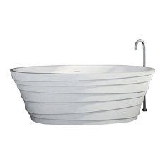 """ADM Layered Freestanding Bathtub, White, 71"""", Glossy White"""