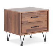 End Table Walnut Nightstand With 2 Drawers, V Shape Black Metal Legs