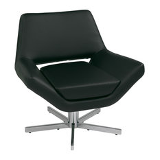 """Yield Modern Faux Leather Lounge Chair With Chrome 5 Star Base, Black, 31"""", Blac"""