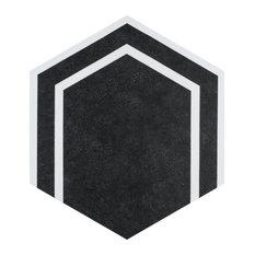 "8.63""x9.88"" Labirinto Hex Porcelain Floor and Wall Tile, Black, Set of 25"