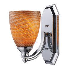 Vanity 1-Light Bathbar in Polished Chrome and Coco Glass
