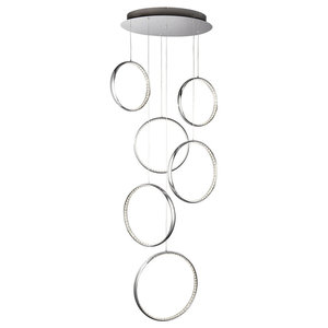 Searchlight Rings LED 6-Light Ceiling Light, Polished Chrome