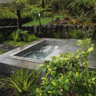 Foto di una piccola piscina fuori terra stile marinaro rettangolare in cortile con una vasca idromassaggio e pedane