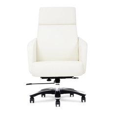 Lauren Genuine Leather Aluminum Base Chair, White