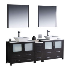 "84"" Double Sink Bathroom Vanity, Espresso, White Ceramic Vessel Sink, FFT1045BN"