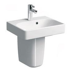 "Smyle 18"" Wall Mounted Semi-Pedestal Bathroom Ceramic Sink With Overflow"