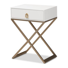 Baxton Studio Patricia White Finished Wood Brass-Tone Metal 1-Drawer Nightstand