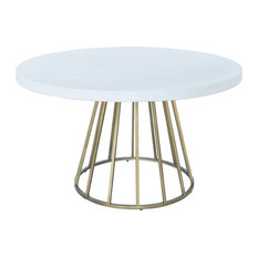 Modrest Harper Modern White Concrete and Antique Brass Round Dining Table
