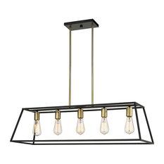 OVE Decors Agnes II 5-Light LED Matt Black & Light Gold Finish Pendant Light