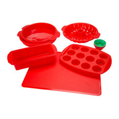classic cuisine 18piece silicone bakeware set red bakeware sets - Bakeware Sets