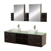 Avara Wall-Mounted Double Bathroom Vanity, 72 Inch, Green Glass Top, White Porce