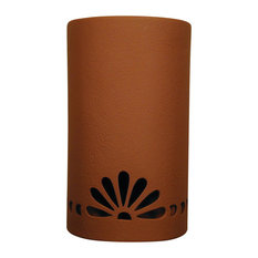 """14"""" Open Top 1/2 Round Ceramic Wall Sconce, Fan With Bullets Design, Terracotta"""