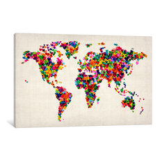 """""""World Map Hearts, Multicolor II"""" Wrapped Canvas Print, 40x26x0.75"""