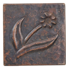 """Copper Crafted Individual Copper Tile 4""""x4"""" Flower Design"""