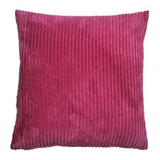 Pillow Decor - Wide Wale Corduroy 22 x 22 Throw Pillows, Magenta Pink