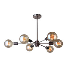 16116-G125 Ethan 6-Light Chandelier, Brushed Brass and Bronze