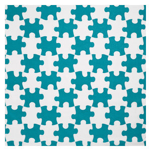 """PaperBoy Interiors """"It's a Puzzle"""" Fabric, Blue and White"""