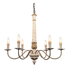 Colette French Country Antique White Wood And Gold Chandelier, 31""