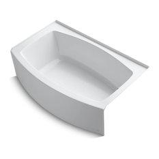 """Expanse Alcove Bath Tub, Right-Hand Drain, 60""""x32-38"""", White"""