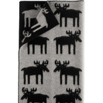 Roros Tweed - Elg Moose Wool Blanket, Grey/Black - The Elg is a youthful  Scandinavian design utilizing the moose motif.  This  throw will be an inviting addition to any living room, bedroom, or weekend retreat.