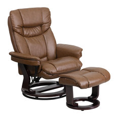 Contemporary Palimino Leather Recliner and Ottoman, Swiveling Mahogany Wood Base