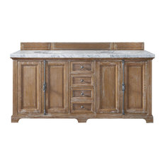 "Providence 72"" Driftwood Double Vanity w/ 4cm Santa Cecilia Granite Top"