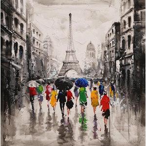 """Rainy Cityscapes Acrylic Painting, """"RainyParis"""", 95x95 cm"""